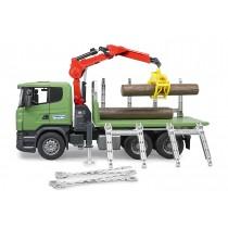 Set Camion per il trasporto di legna, con gru, benna prensile e 3 tronchi, serie Scania R