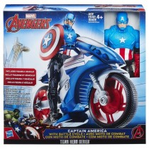 Captain America with battle cycle Hasbro