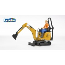 JCB Micro excavator 8010 CTS and construction worker (colours of clothes assorted)