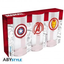 "MARVEL - ""Avengers Captain America & Iron Man"" 3 glasses set"