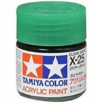 X-25 Clear Green. Tamiya Color Acrylic Paint (Gloss) – Colori lucidi