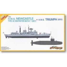 British Navy Type 42 Destroyer D87 Newcastle + Trafalgar Class Nuclear Submarine 93 Triumph