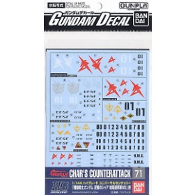 Gundam Decal for (1/144) Gundam Char`s Counter Attack E.F.S.F. (Gundam Model Kits)
