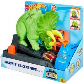 Hot Wheels City Playset Pista Attacco del Triceratopo con Lanciatore e Macchinina - Japan style Toyslandia