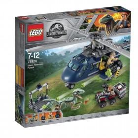 Lego Jurassic World inseguimento sull'elicottero  di blu Lego75928