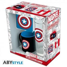 "MARVEL - Pck Glass 29cl + Coaster + Mini Mug ""Captain America"""
