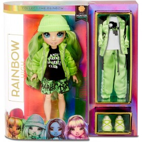 Rainbow High Collectible Fashion Dolls - Abiti Firmati, Accessori e Supporto - Jade Hunter - Serie Rainbow High